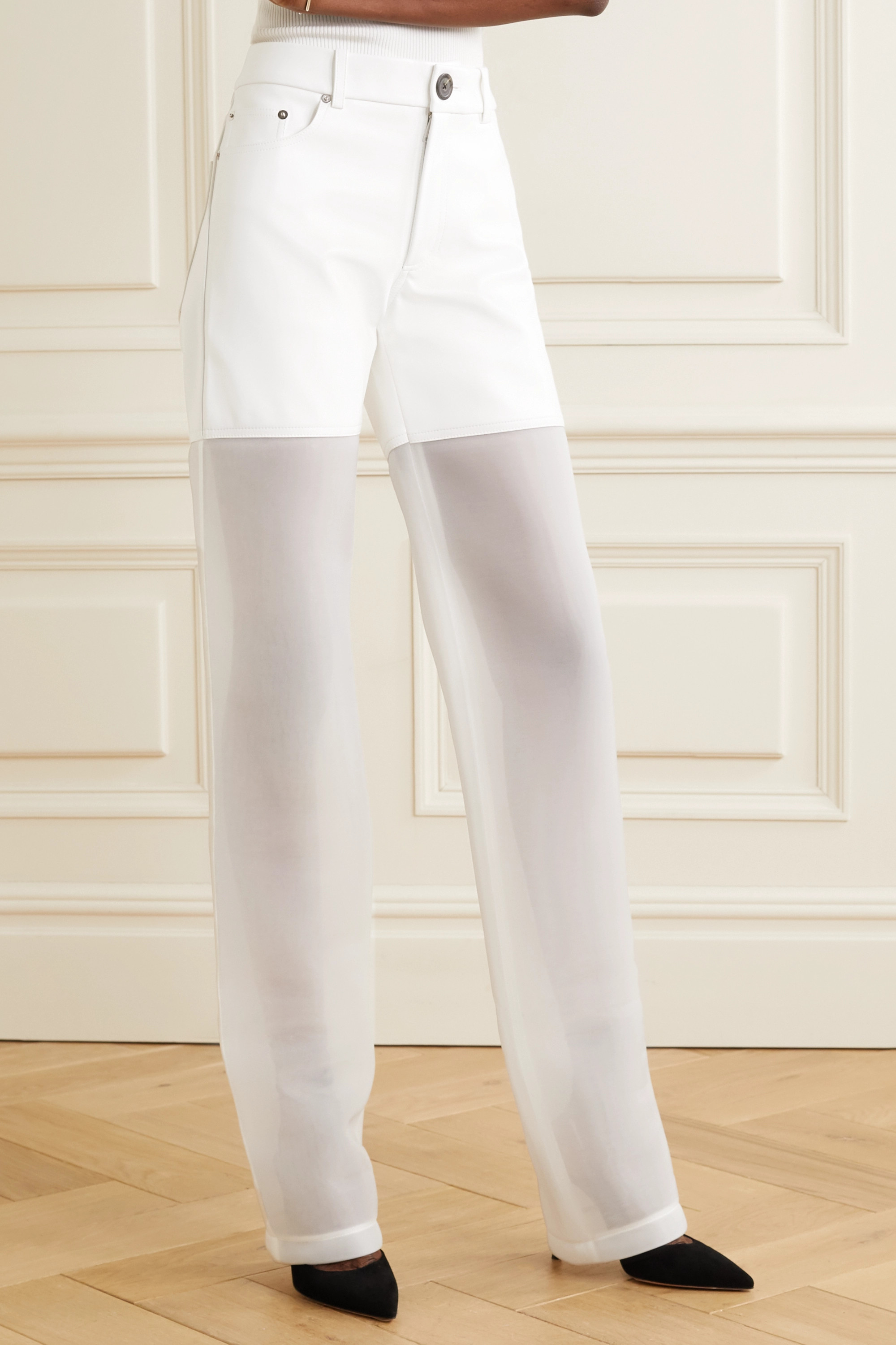Peter Do Paneled faux leather and organza straight-leg pants