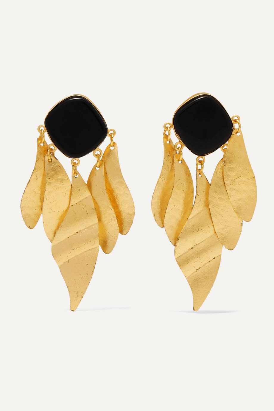 Peet Dullaert Indra gold-plated onyx earrings