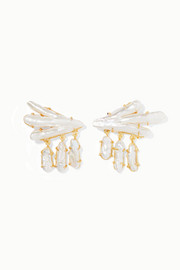 Vanura gold-plated pearl earrings