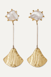 Baha gold-plated pearl earrings