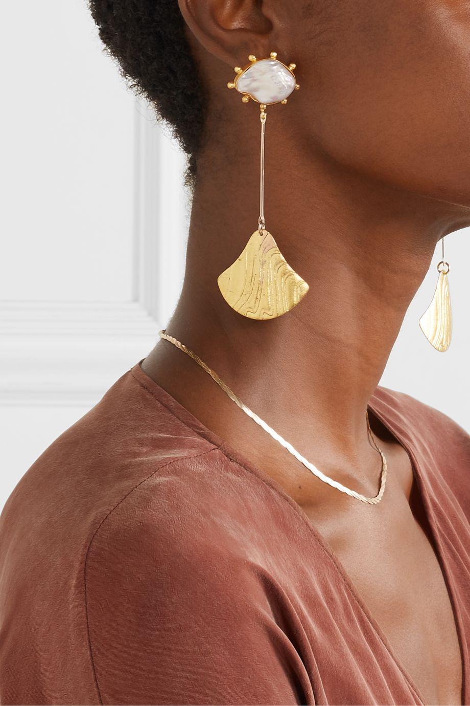Peet Dullaert Baha gold-plated pearl earrings