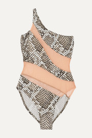 Norma Kamali One-shoulder mesh-paneled snake-print swimsuit