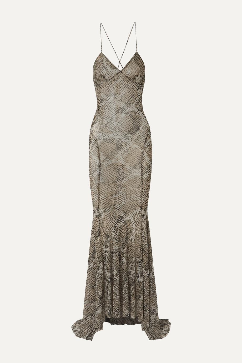 Norma Kamali | Open-back snake-print stretch-gauze maxi dress | NET-A-PORTER.COM