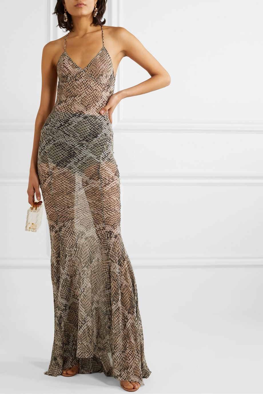 Norma Kamali Open-back snake-print stretch-gauze maxi dress