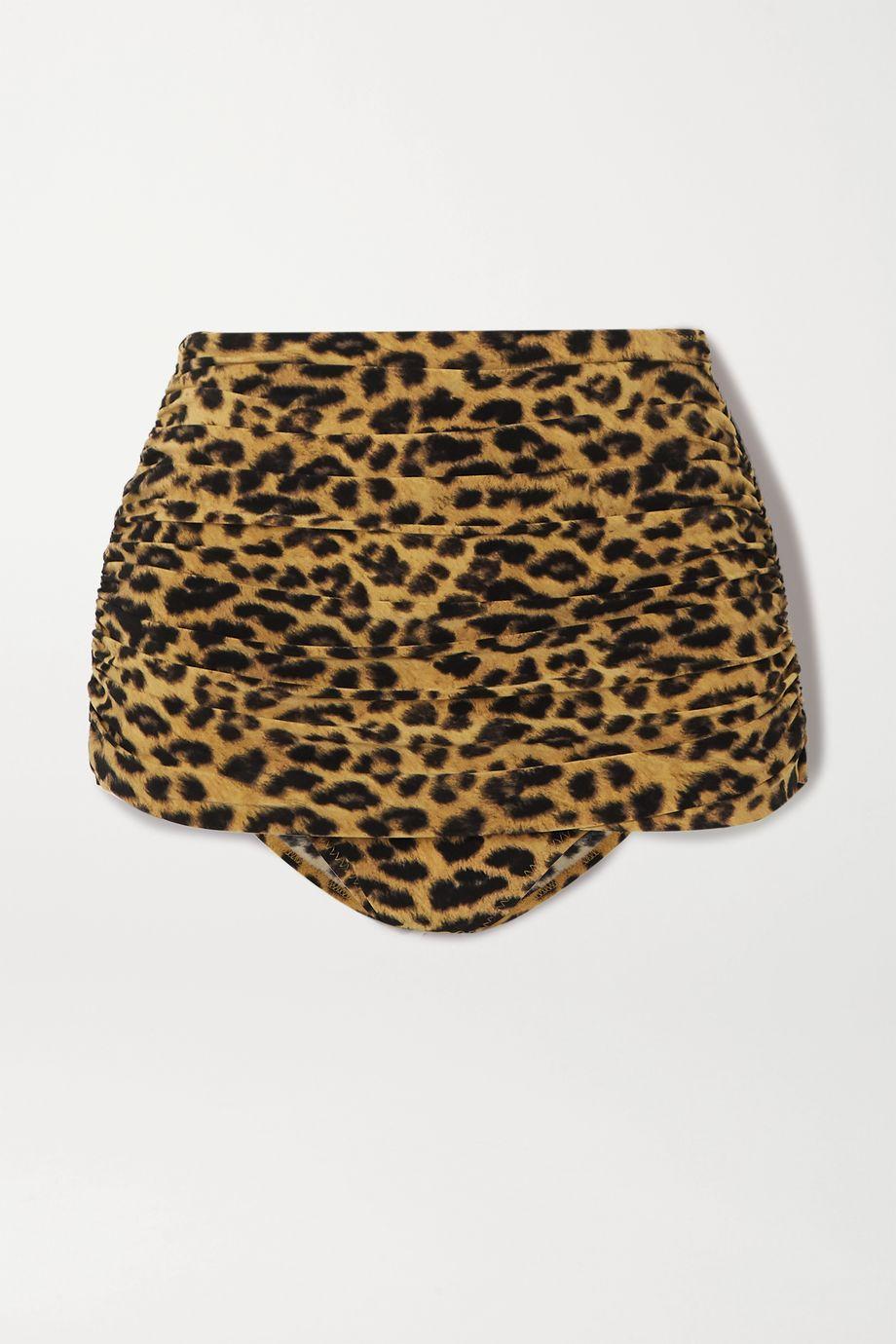 Norma Kamali Culotte de bikini à fronces et à imprimé léopard Bill