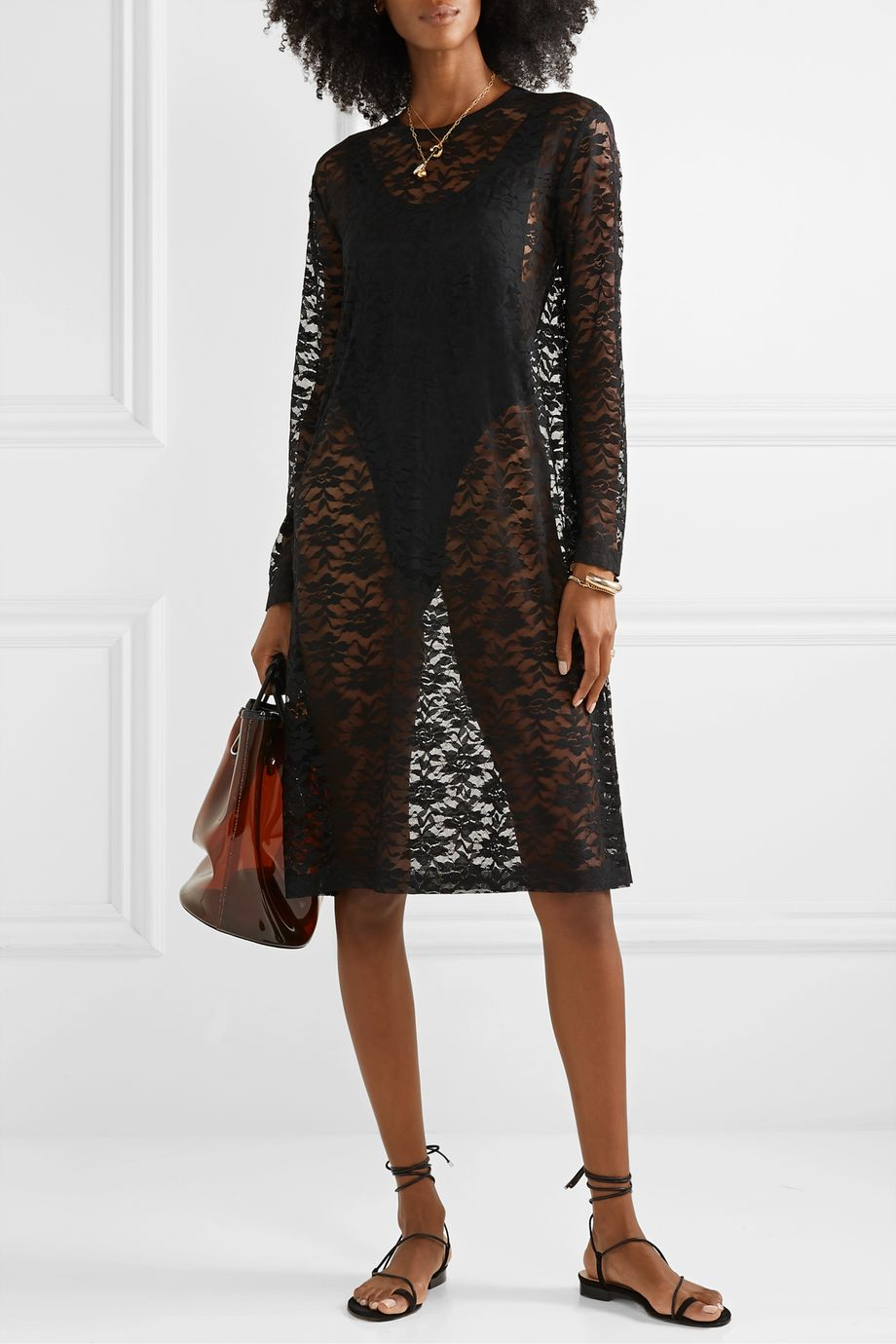 Norma Kamali Stretch-lace dress