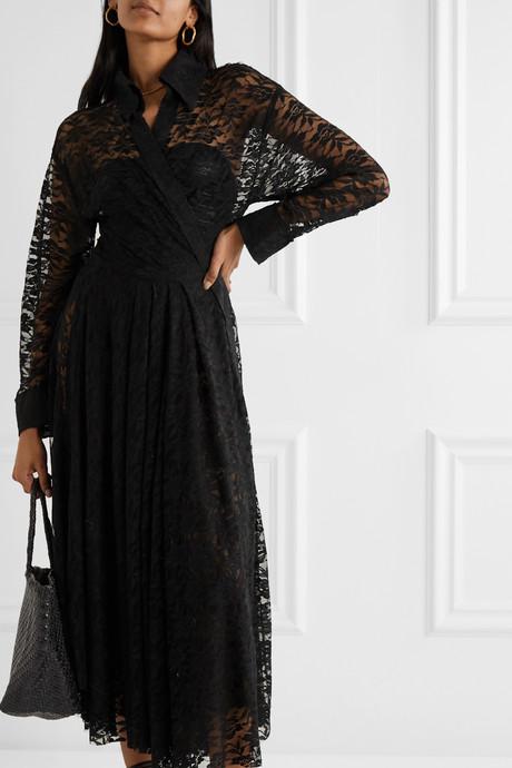 Pleated stretch-lace midi dress