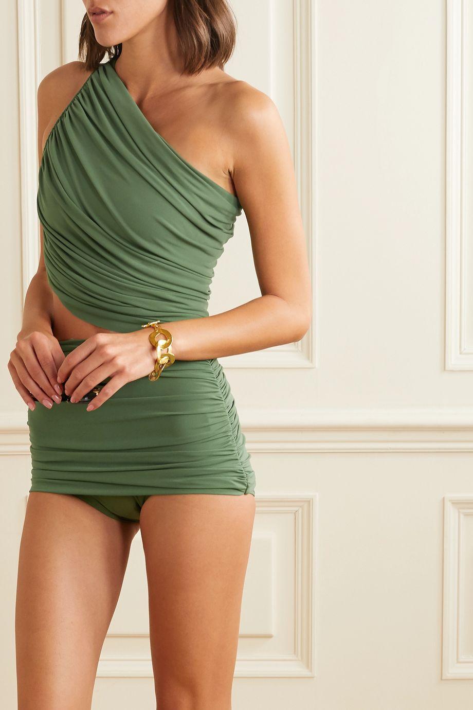 Norma Kamali Haut de bikini asymétrique à fronces Diana