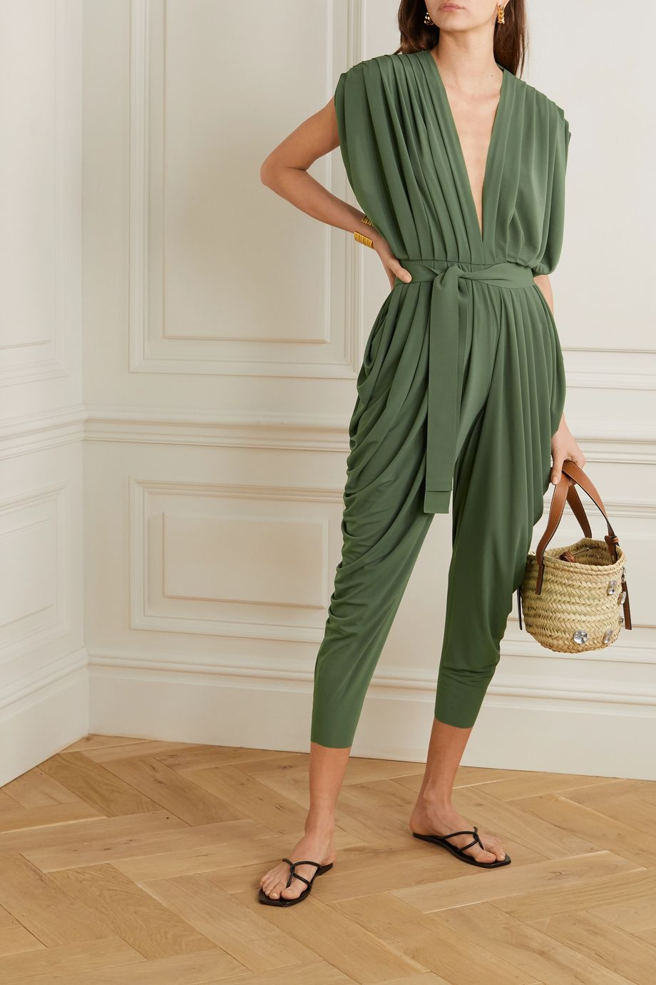 Norma Kamali Belted draped stretch-jersey jumpsuit