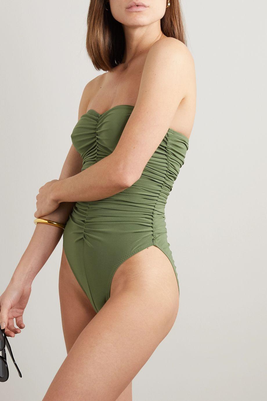 Norma Kamali Slinky Marissa 褶饰抹胸式连体泳衣