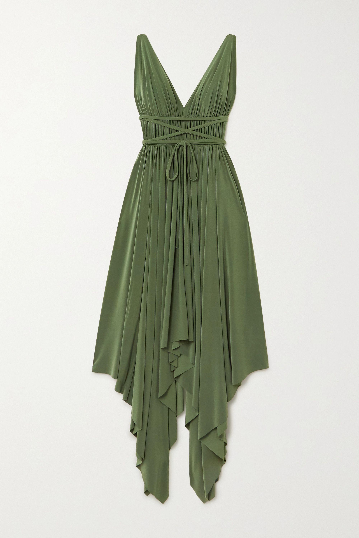 Grun Goddess Asymmetrisches Kleid Aus Stretch Jersey Mit Falten Norma Kamali Net A Porter