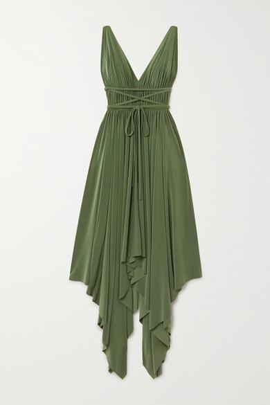 Norma Kamali GODDESS ASYMMETRIC PLEATED STRETCH-JERSEY DRESS
