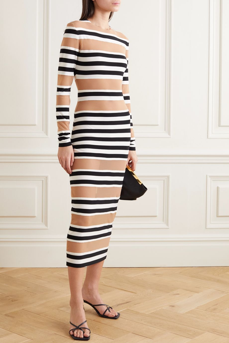 Norma Kamali Striped stretch-jersey and mesh midi dress