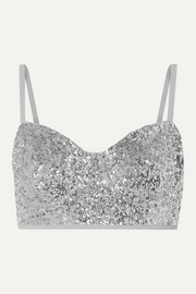 Norma Kamali Sequined underwired bikini top