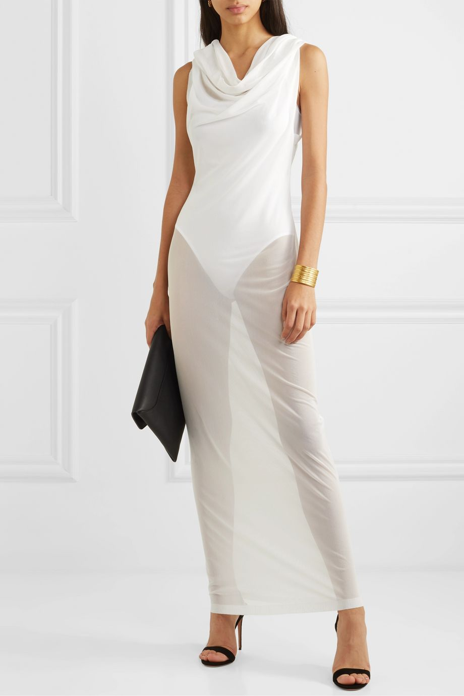 Norma Kamali Neeta draped gauze maxi dress