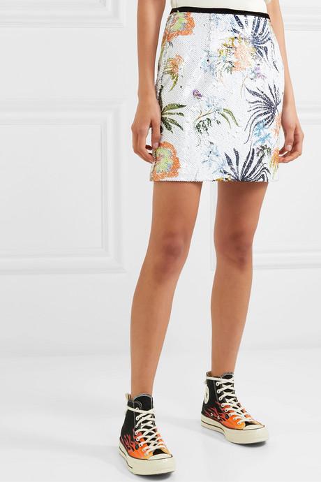 Tender Fury velvet-trimmed sequined chiffon mini skirt
