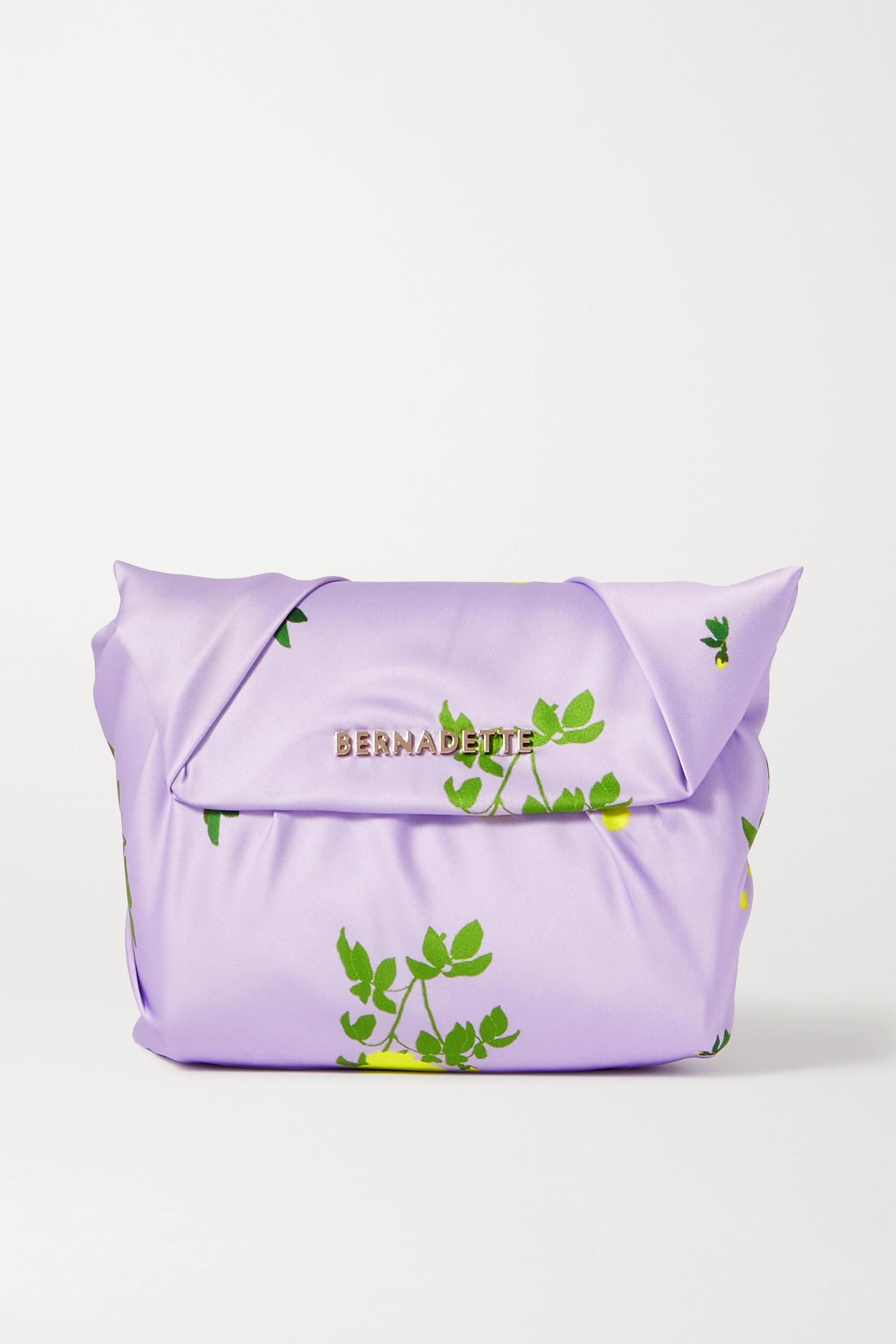 BERNADETTE Belinda knotted floral-print satin clutch