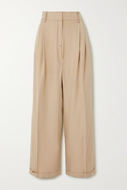 Pleated topstitched cady wide-leg pants