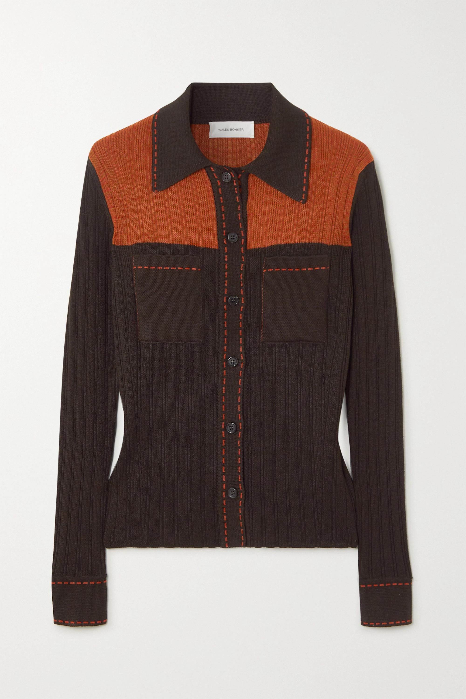 Wales Bonner Two-tone ribbed-knit shirt