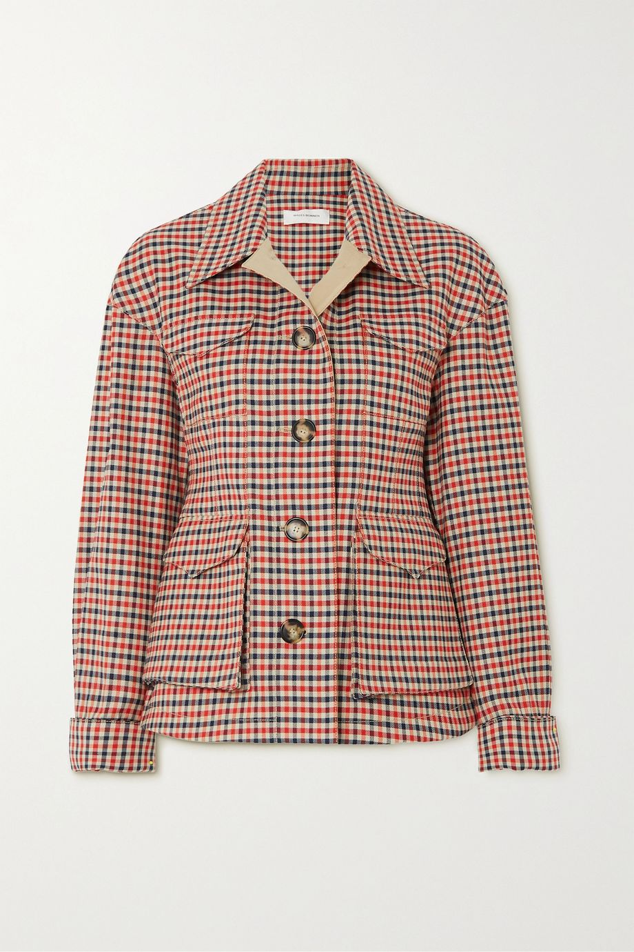 Wales Bonner Checked wool and cotton-blend jacket