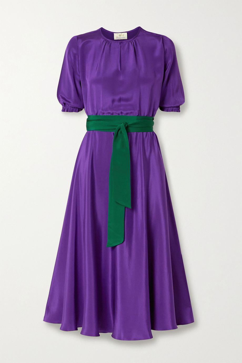 ARoss Girl x Soler Alison Leigh belted silk crepe de chine midi dress