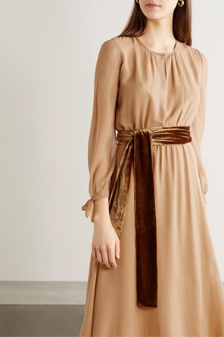 Amanda velvet-trimmed silk-chiffon midi dress