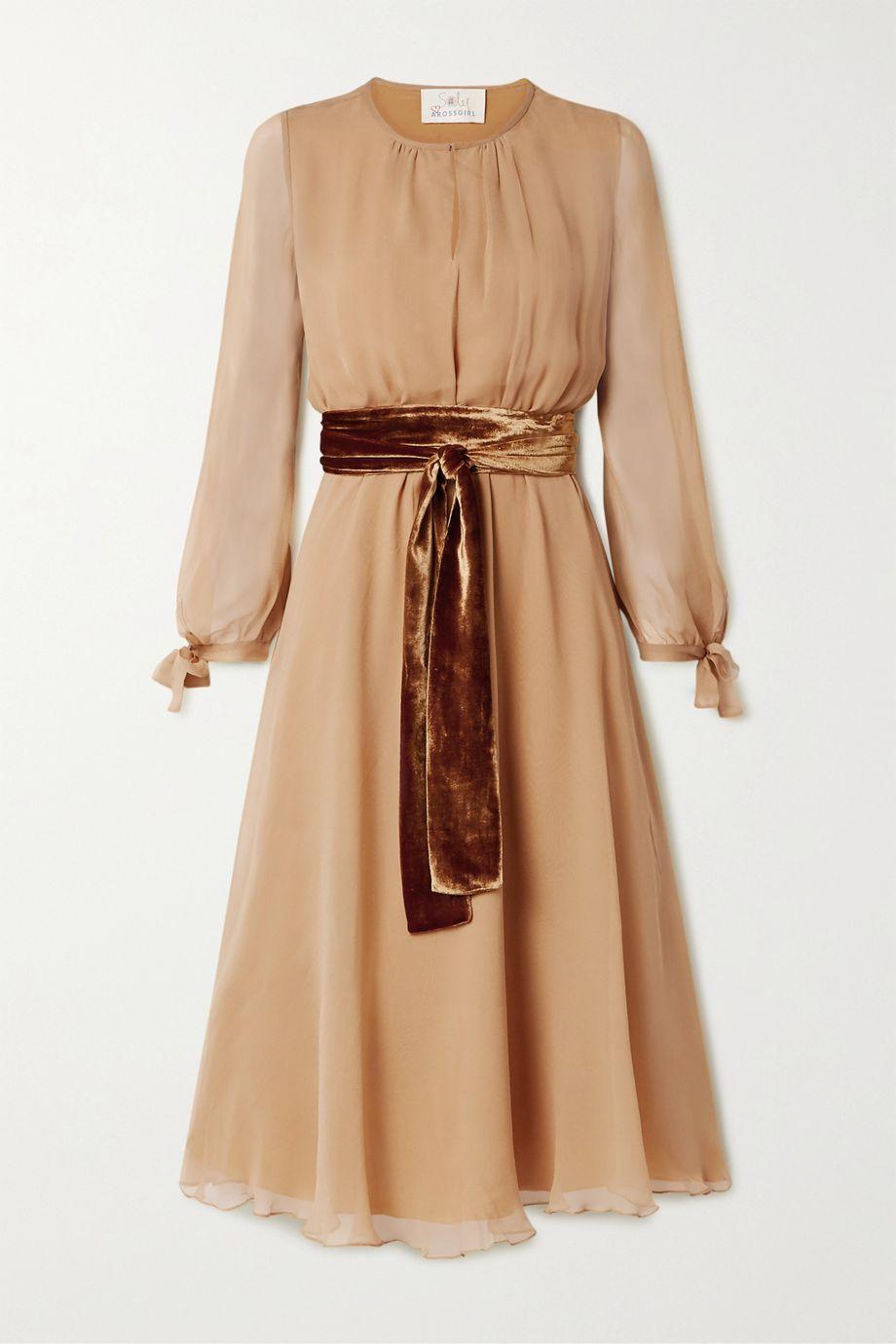 ARoss Girl x Soler Amanda velvet-trimmed silk-chiffon midi dress