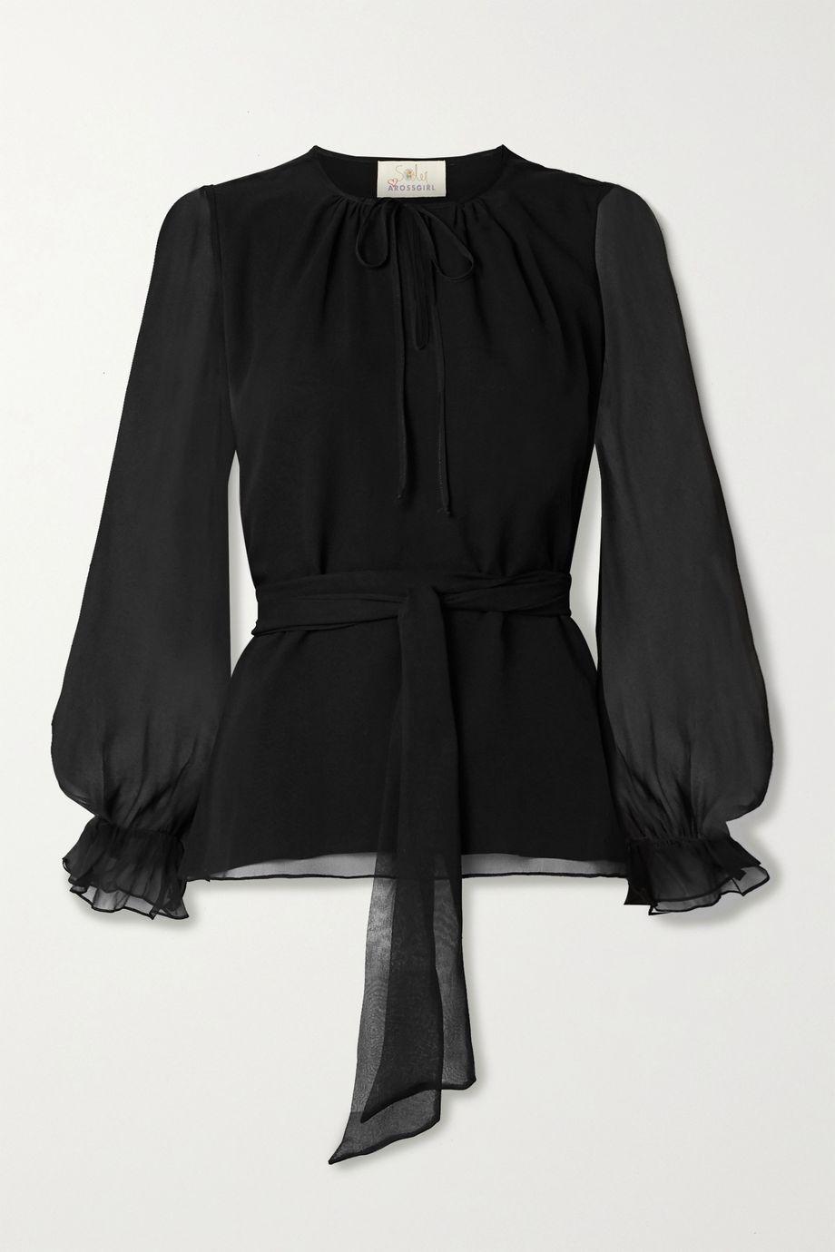 ARoss Girl x Soler Amanda belted silk-chiffon blouse