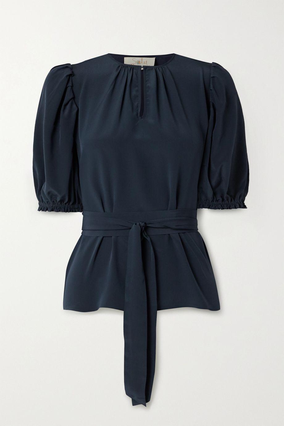 ARoss Girl x Soler Brooke belted silk crepe de chine top
