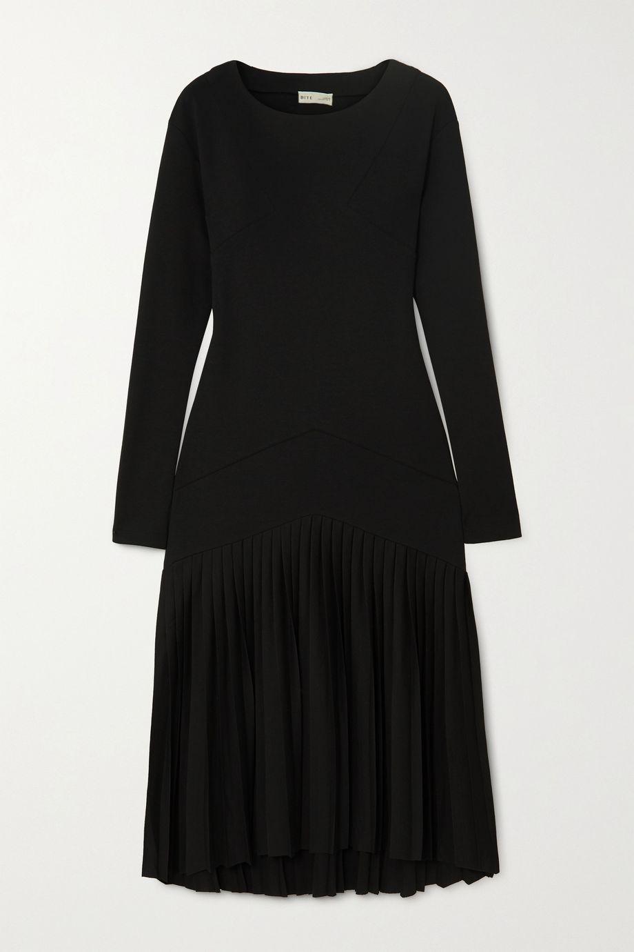 BITE Studios + NET SUSTAIN pleated organic cotton-blend jersey dress