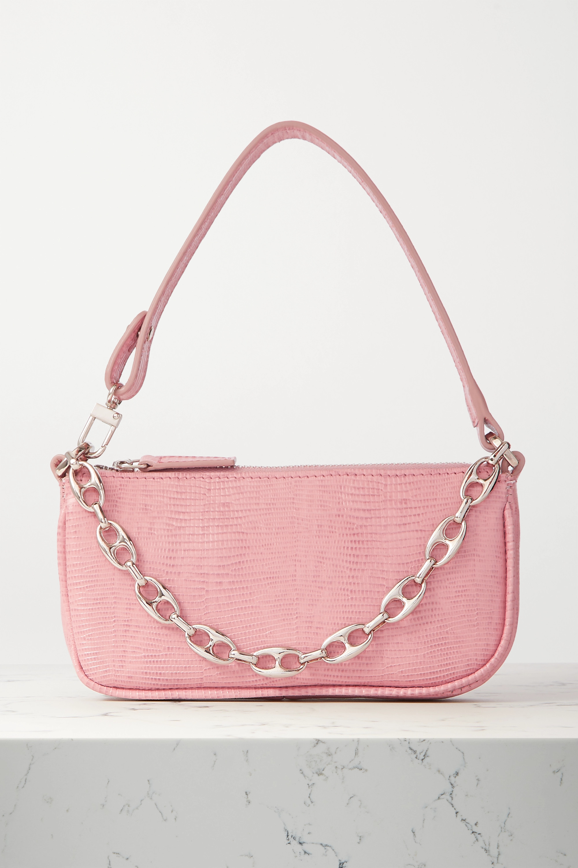 BY FAR Rachel mini chain-embellished lizard-effect leather shoulder bag