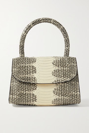 BY FAR Mini snake-effect leather tote