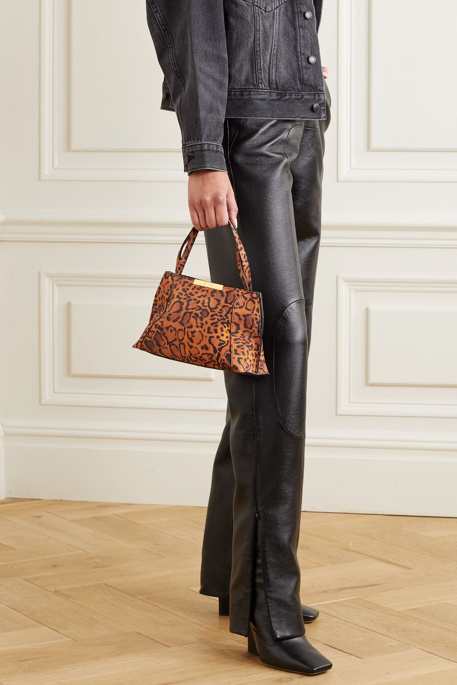 BY FAR Charlotte leopard-print suede tote