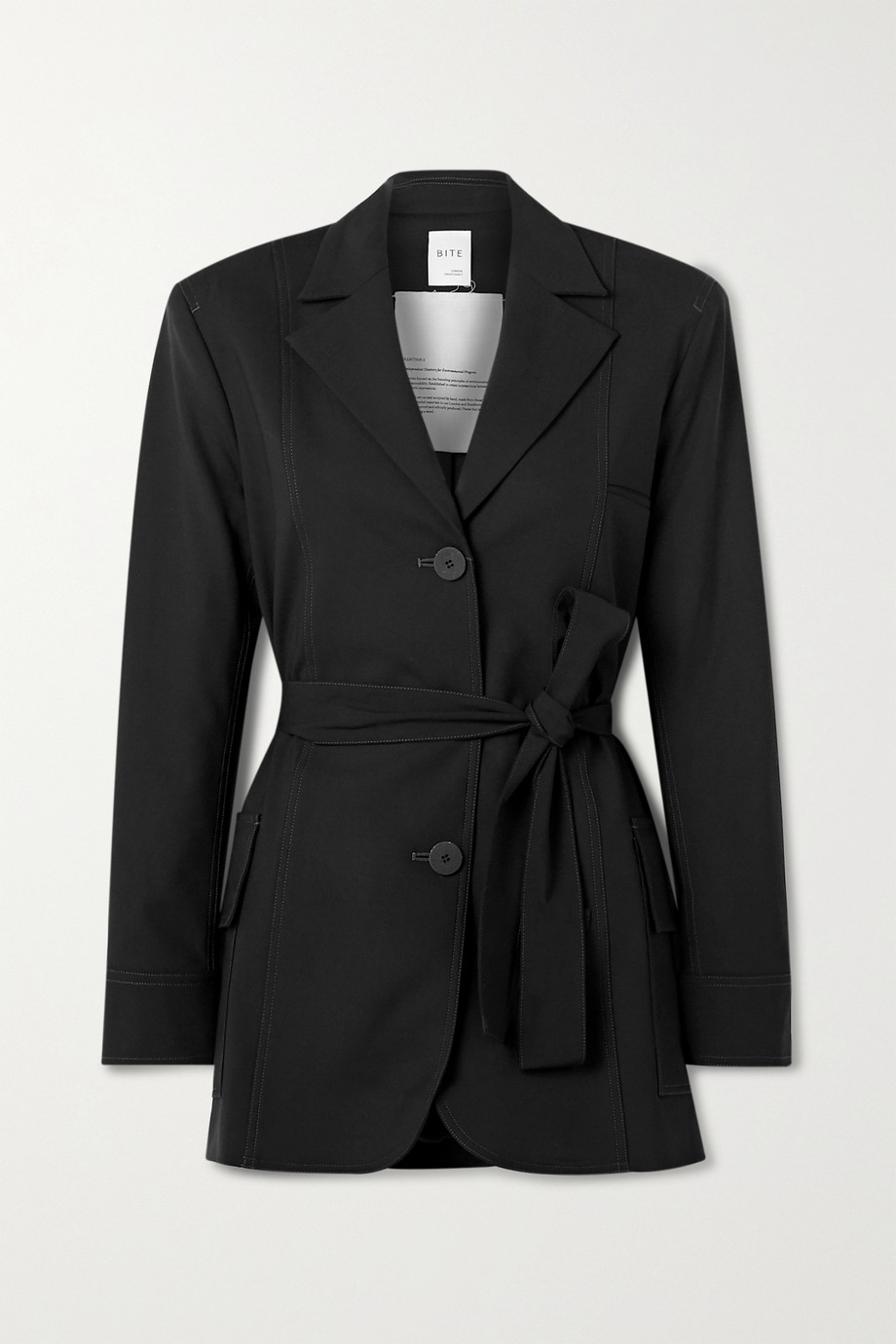 BITE Studios + NET SUSTAIN belted organic wool-blend jacket