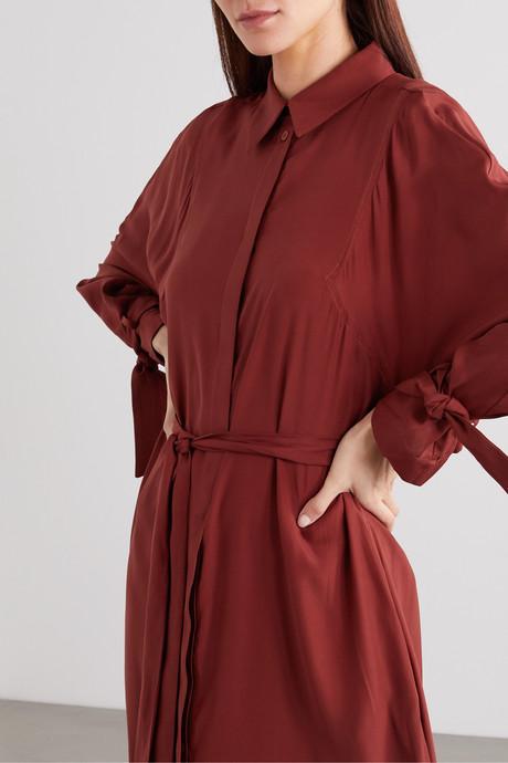 Belted organic silk maxi dress