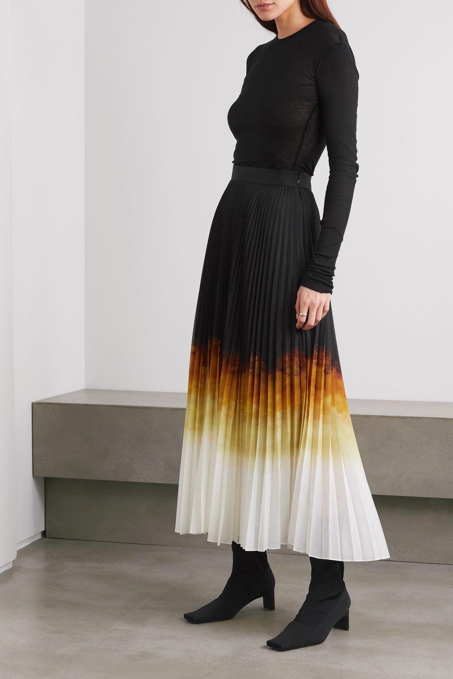 BITE Studios + NET SUSTAIN ombré plissé-chiffon midi skirt