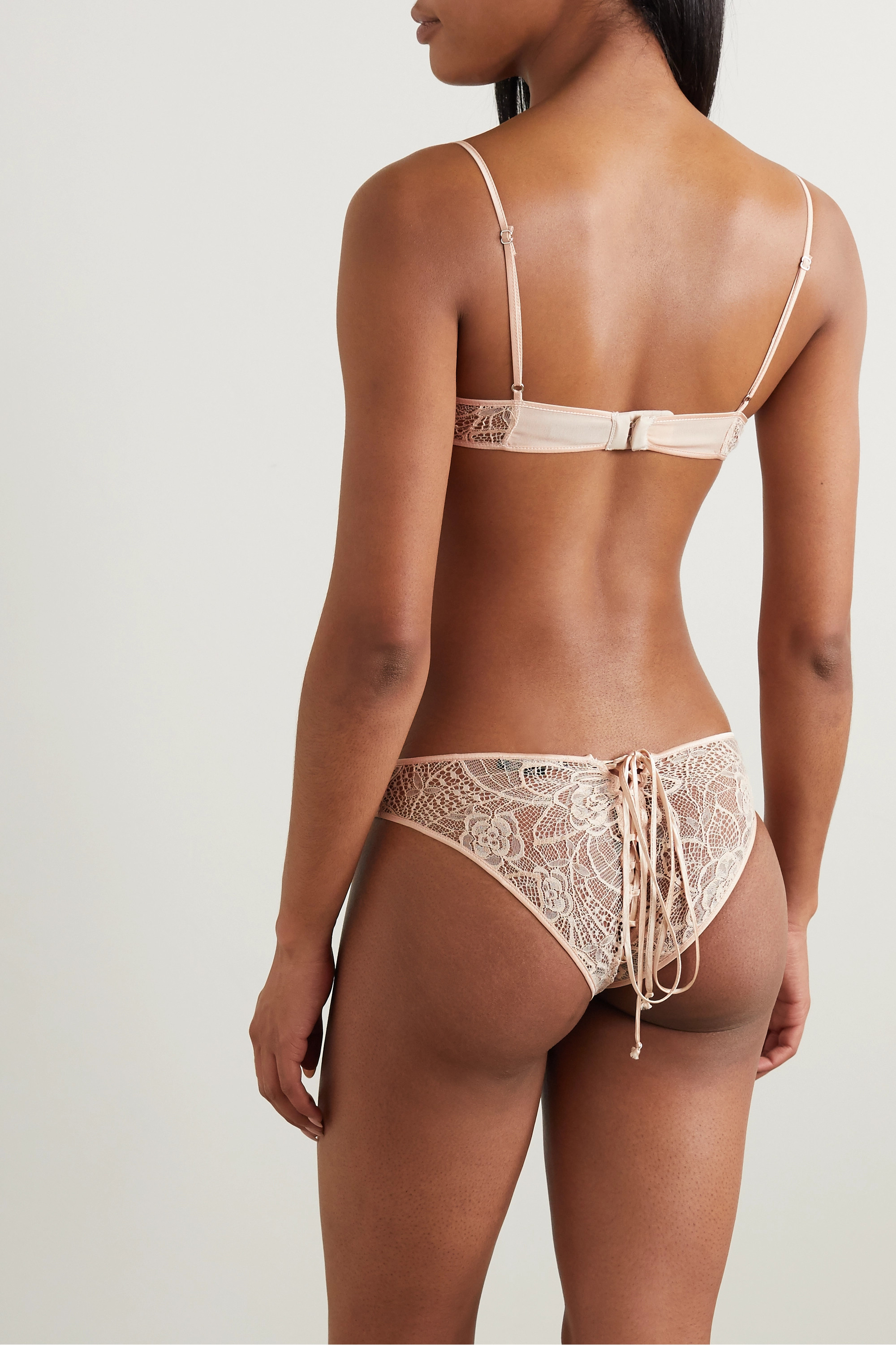 Kiki de Montparnasse Lace-up silk satin-trimmed lace briefs