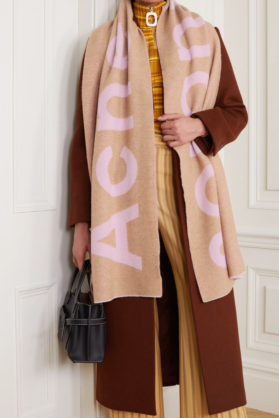 Acne Studios Two-tone intarsia wool-blend scarf