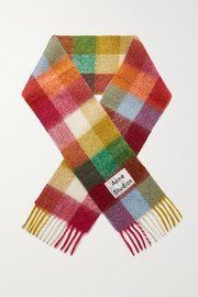 Valley fringed checked knitted scarf