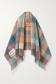 Acne Studios Fringed checked knitted scarf