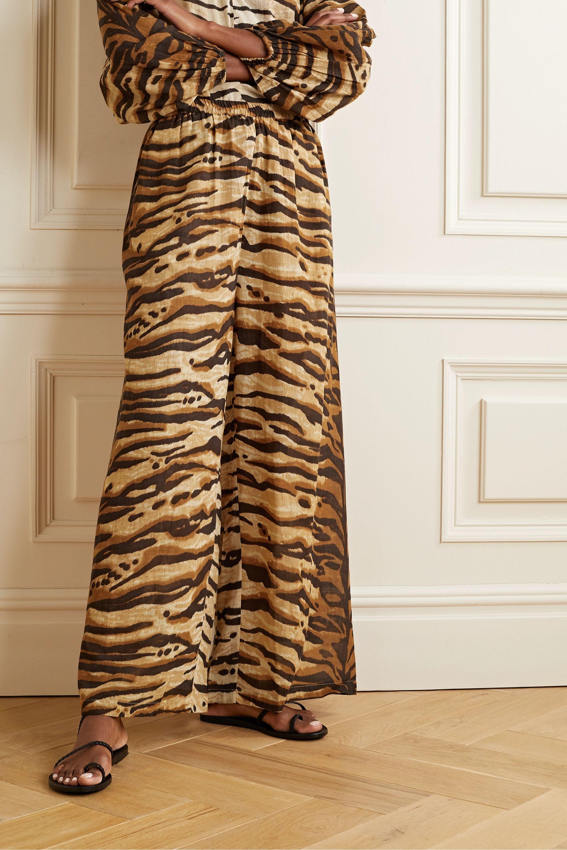 Mes Demoiselles Butan tiger-print cotton-voile wide-leg pants