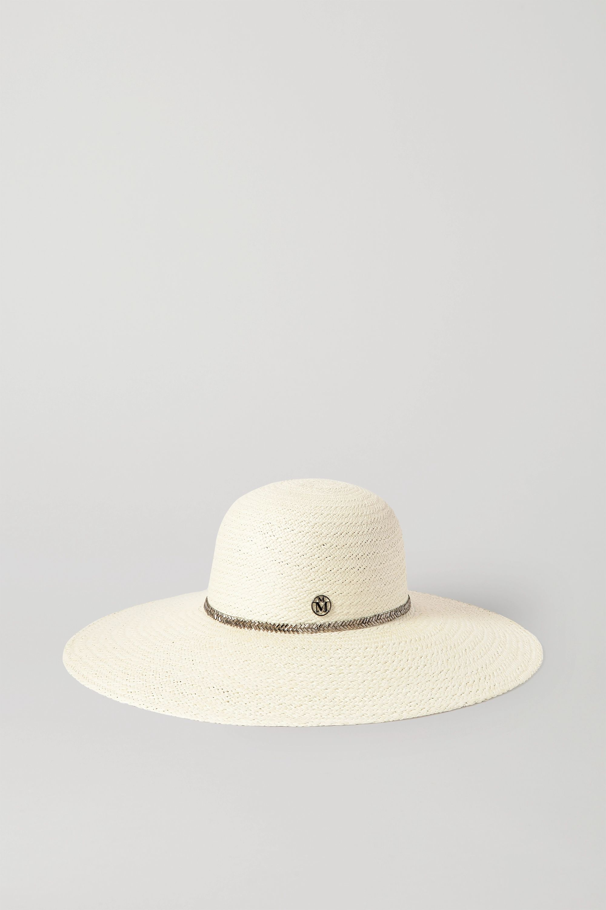 Maison Michel Blanche crystal-embellished straw sunhat