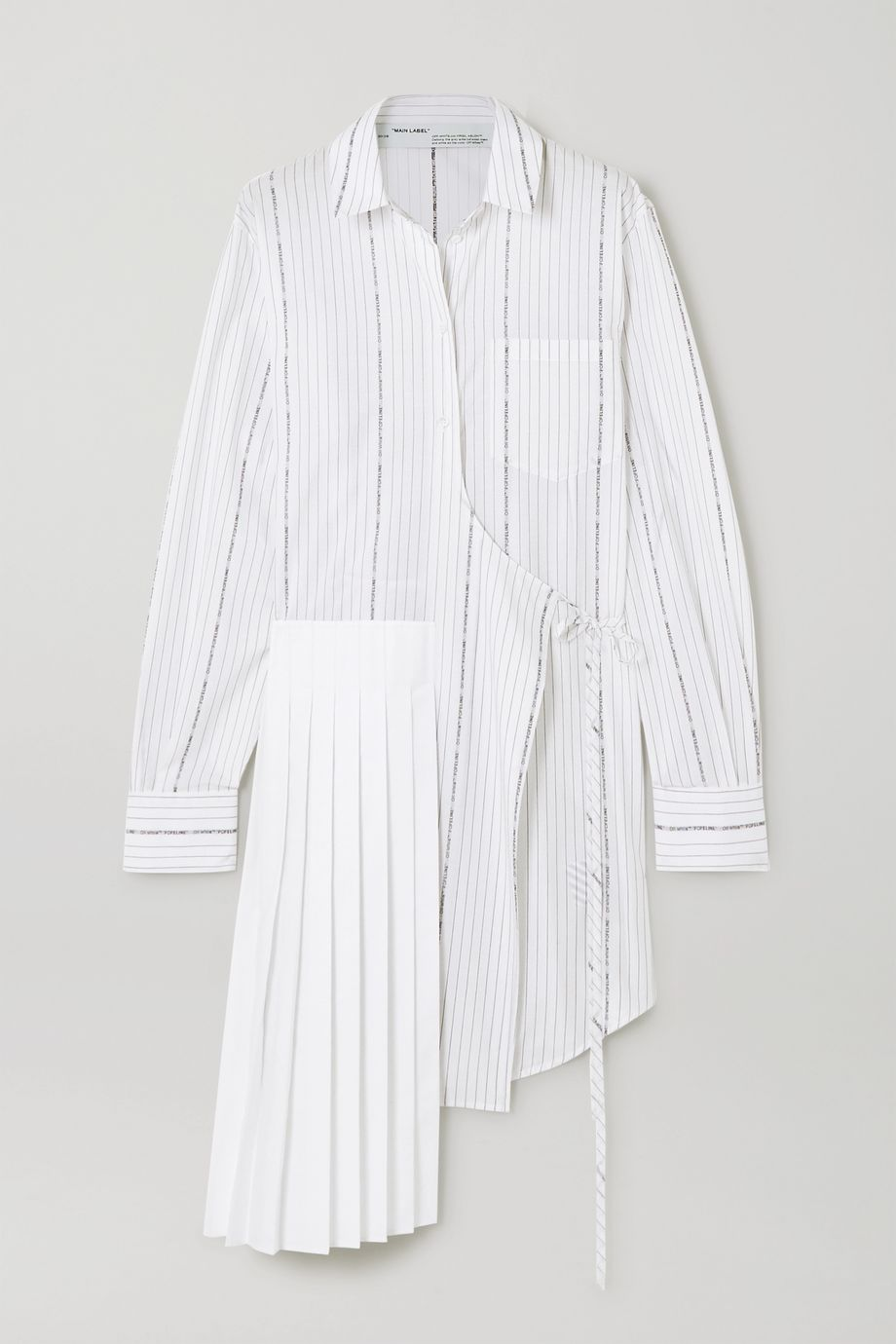 Off-White Asymmetric wrap-effect pinstriped cotton-poplin dress