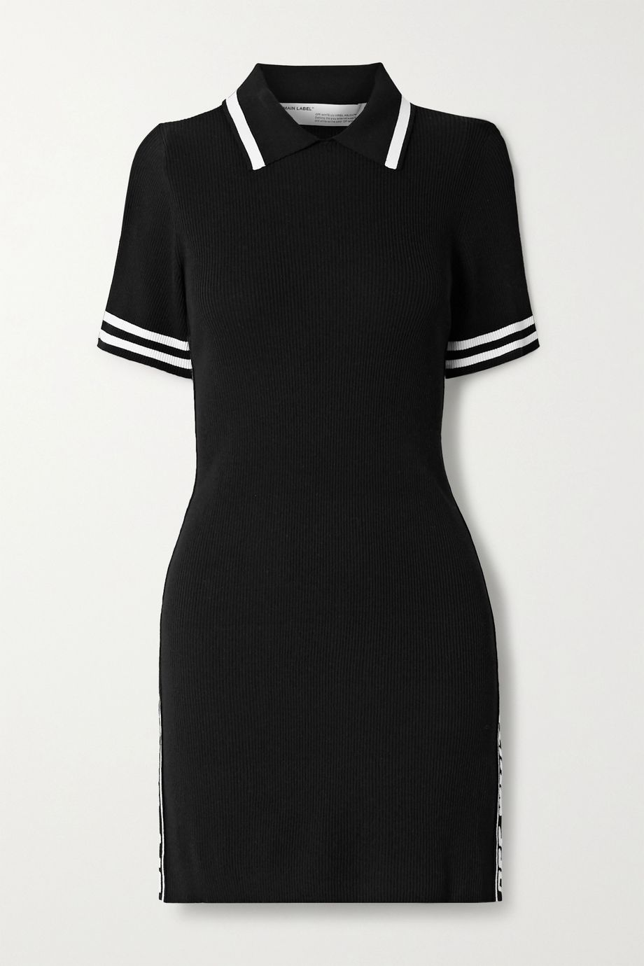 Off-White Jacquard-trimmed ribbed-knit mini dress