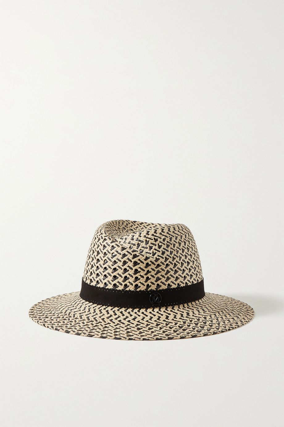 Maison Michel Virginie leather-trimmed two-tone straw hat