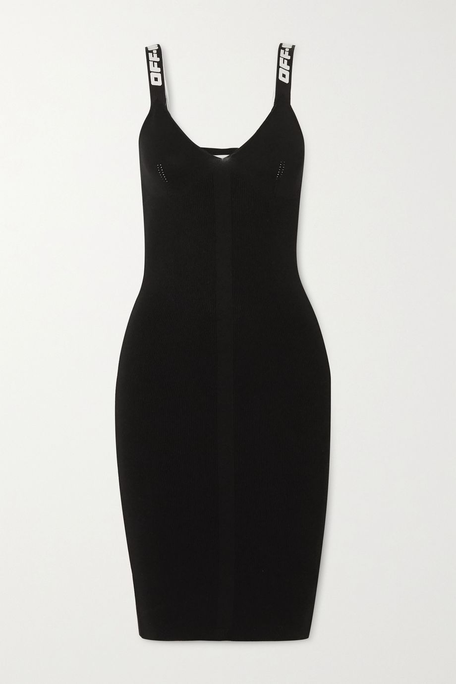 Off-White Canvas-trimmed ribbed-knit dress