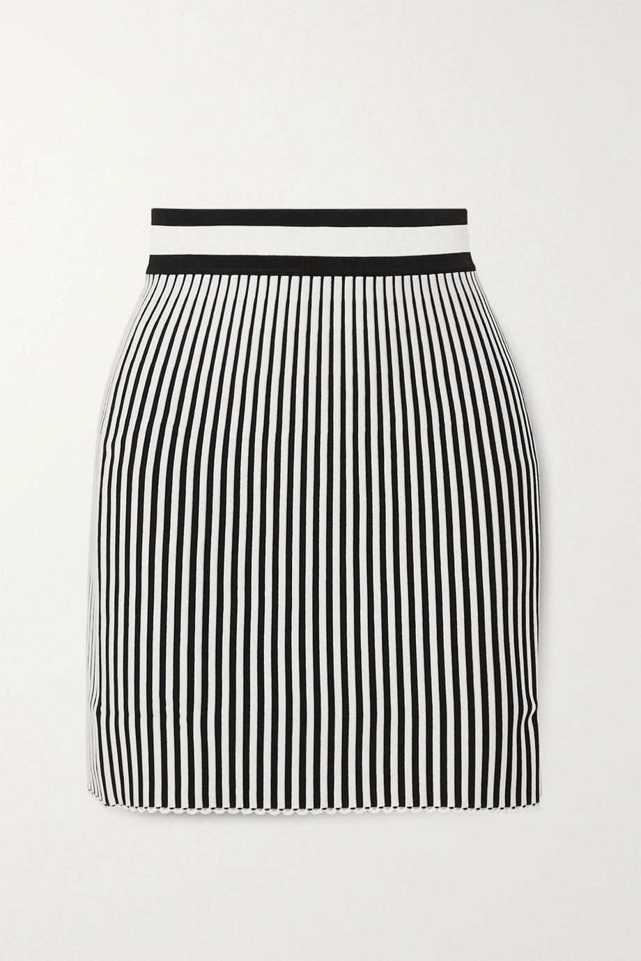 Off-White Striped ribbed-knit mini skirt