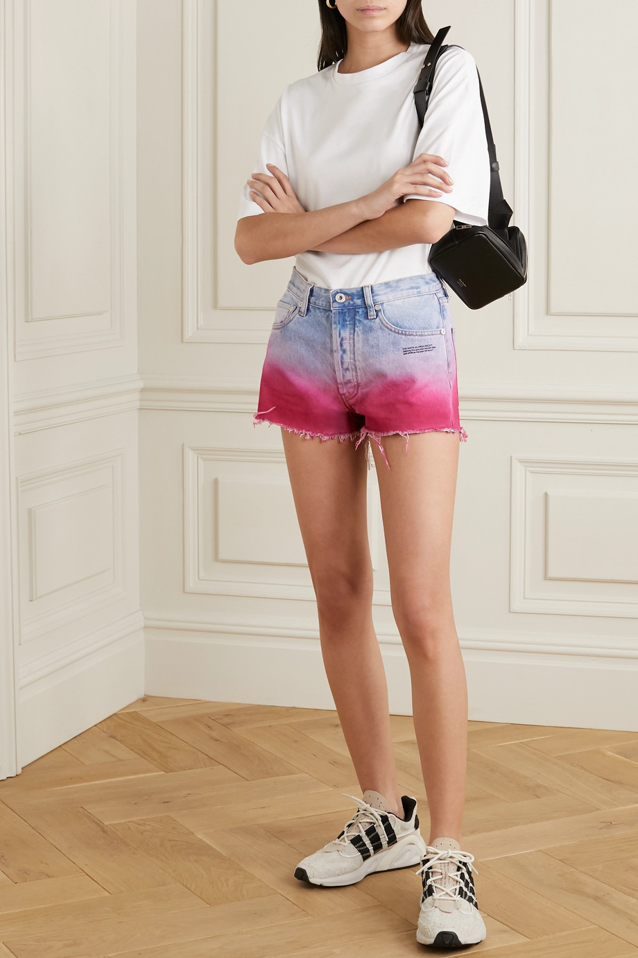 Off-White Frayed printed ombré denim shorts