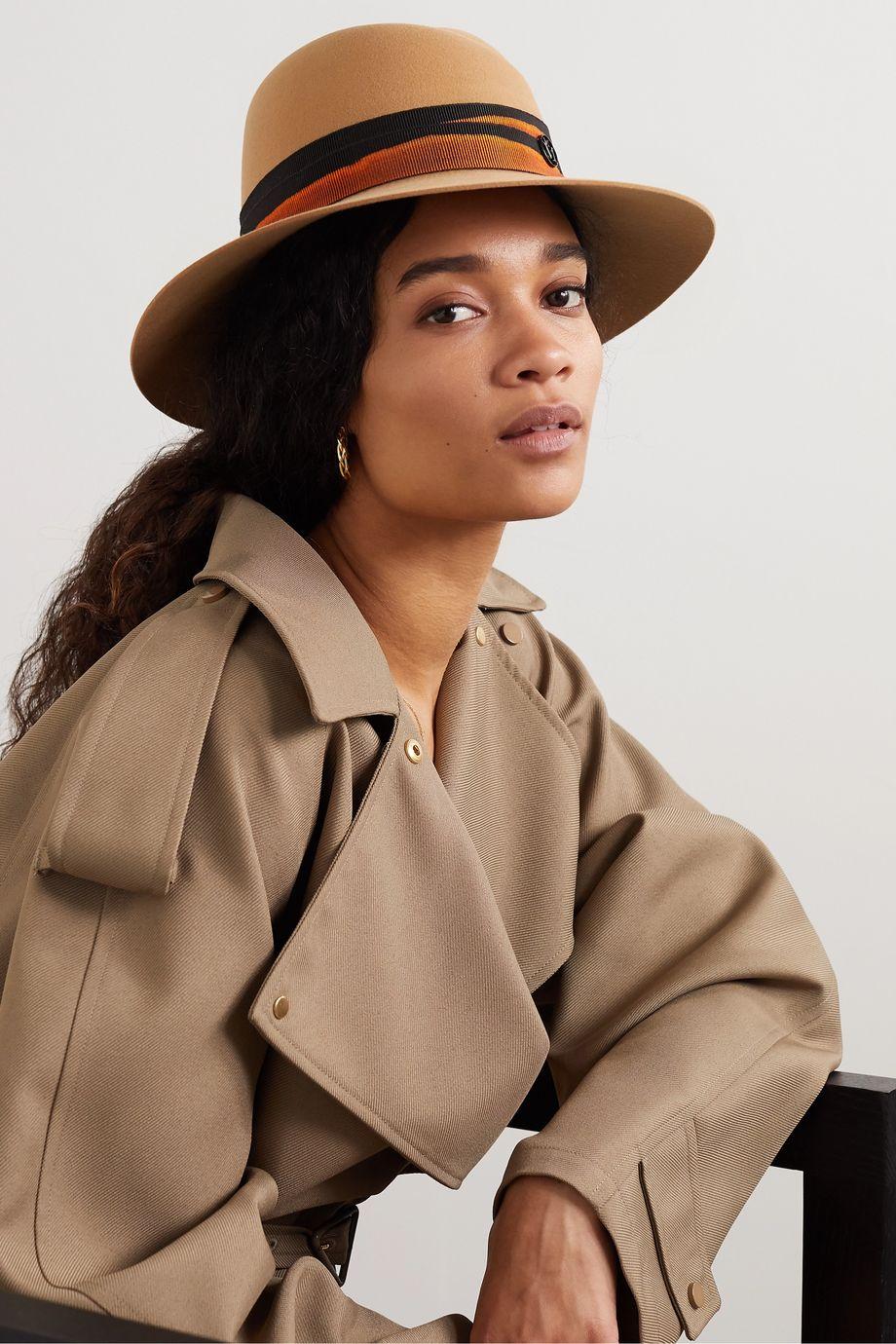 Maison Michel Virginie grosgrain-trimmed wool-felt hat