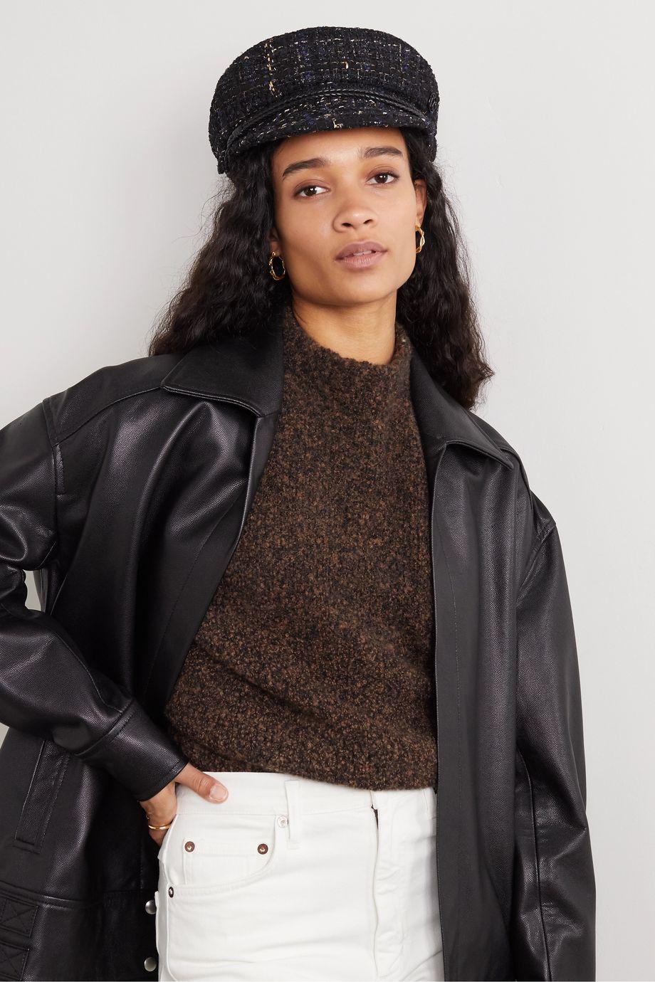 Maison Michel New Abby leather-trimmed metallic bouclé-tweed cap